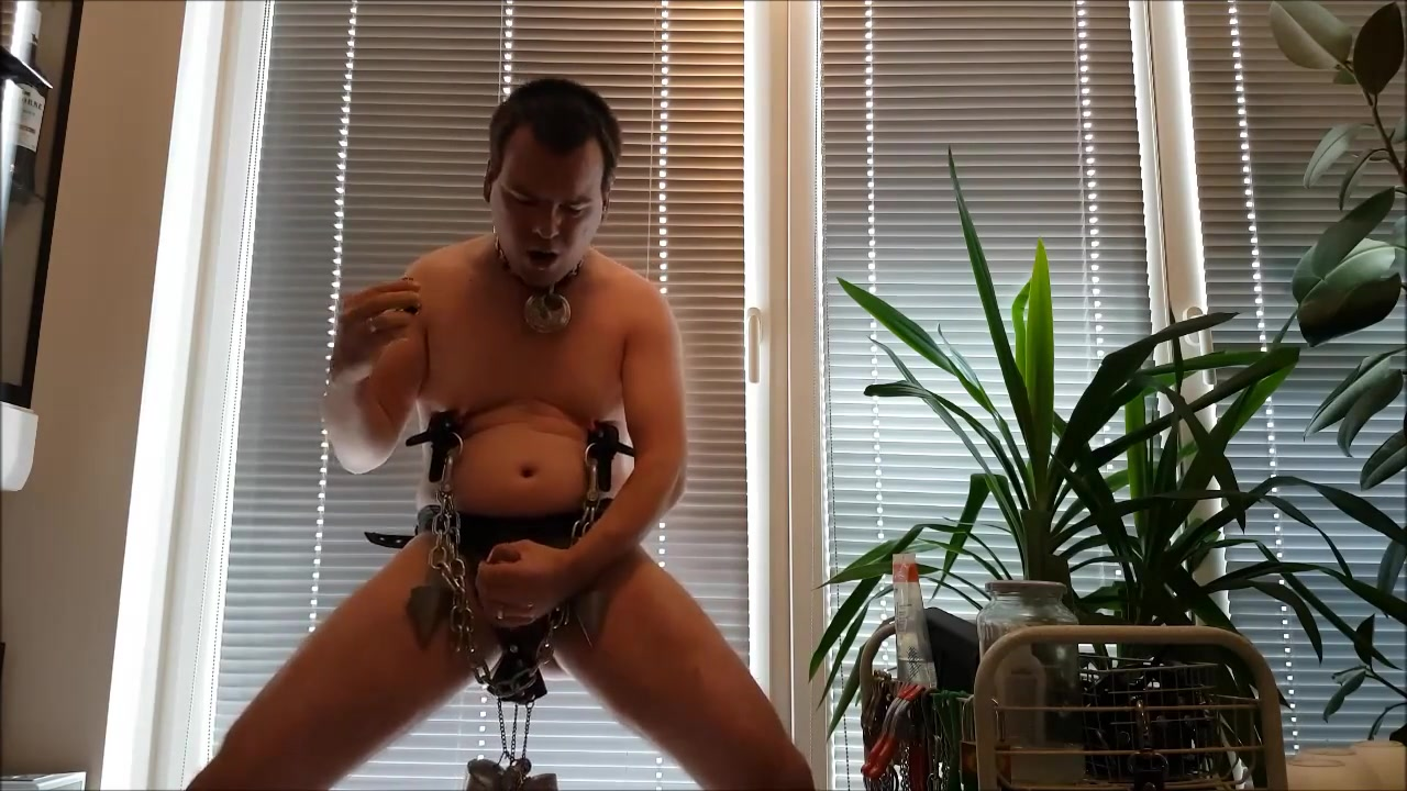 Maso slut toy with ball and nipple weights jerk his cock top hardcore metal bands