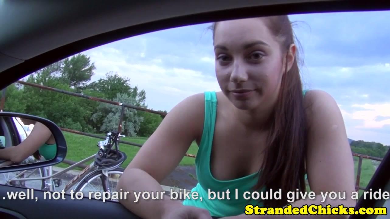 Stranded euro amateur fingered outside on car glycolic facial peel kits