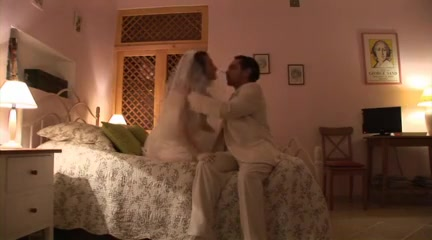 Curious wedding night Two sexy amateur lesbian babes fooling around