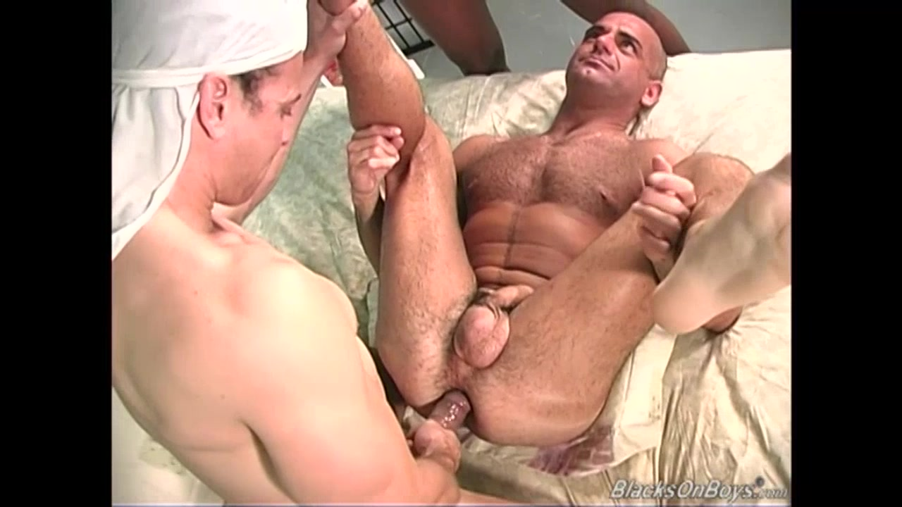 Muscular white guy gets banged by two black thugs Massaging babe tastes les