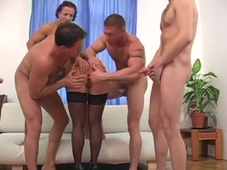 Tattooed Girl In Gangbang Sexy blonde milf gets gangbanged