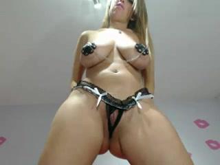 Busty blonde enjoys her big fat dildo