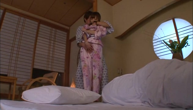 Asian teen Aino Kishi fucked hard in her silk kimono Woman bump fat pussies