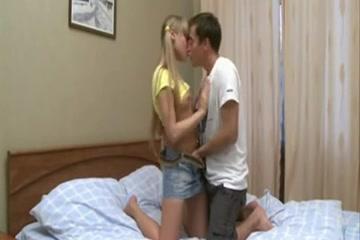 pleasant golden-haired Teengirl bonks with her boyfriend