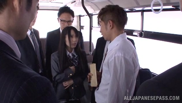 Mana Katase hot Asian doll gets into sex orgy on the bus home Sexy milf seduces