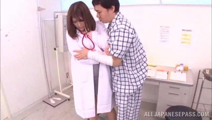 Lovely Asian nurse Meguri enjoys her patient exam Redhead soft bondage cum