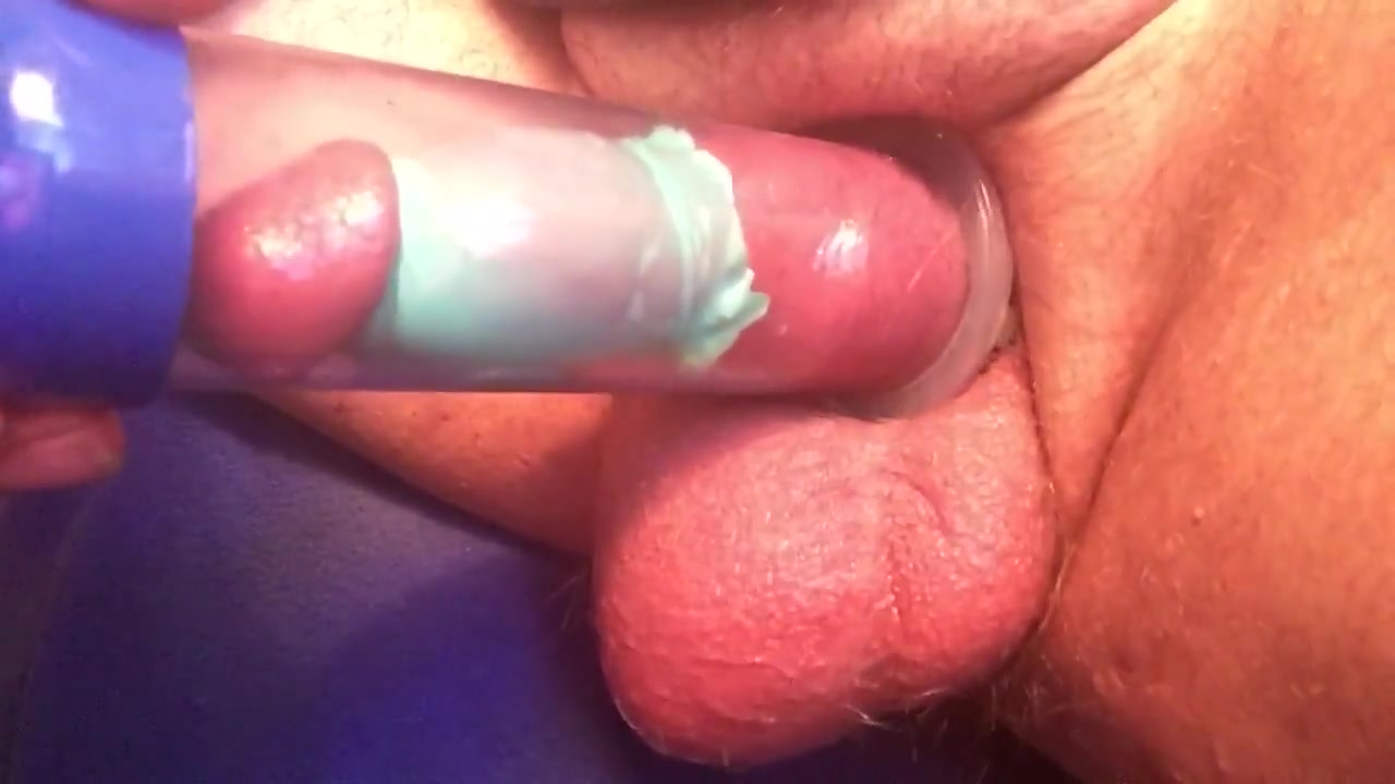 Penis pump eating cum from wife