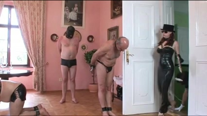 Mistress dominates more than one slave in collars Very big natural breast