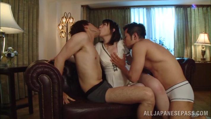 Arousing Asian babe Iroha Sagara gives double blowjob Www girl hot sex video com