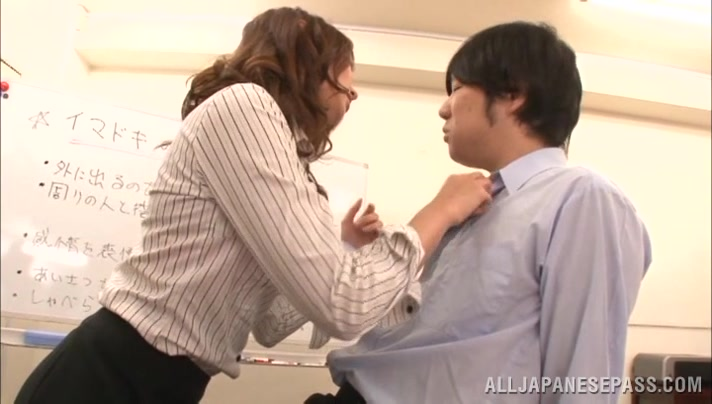 Miku Hasegawa Hot Asian milf in office suit and fishnets mature asian women pictures sex