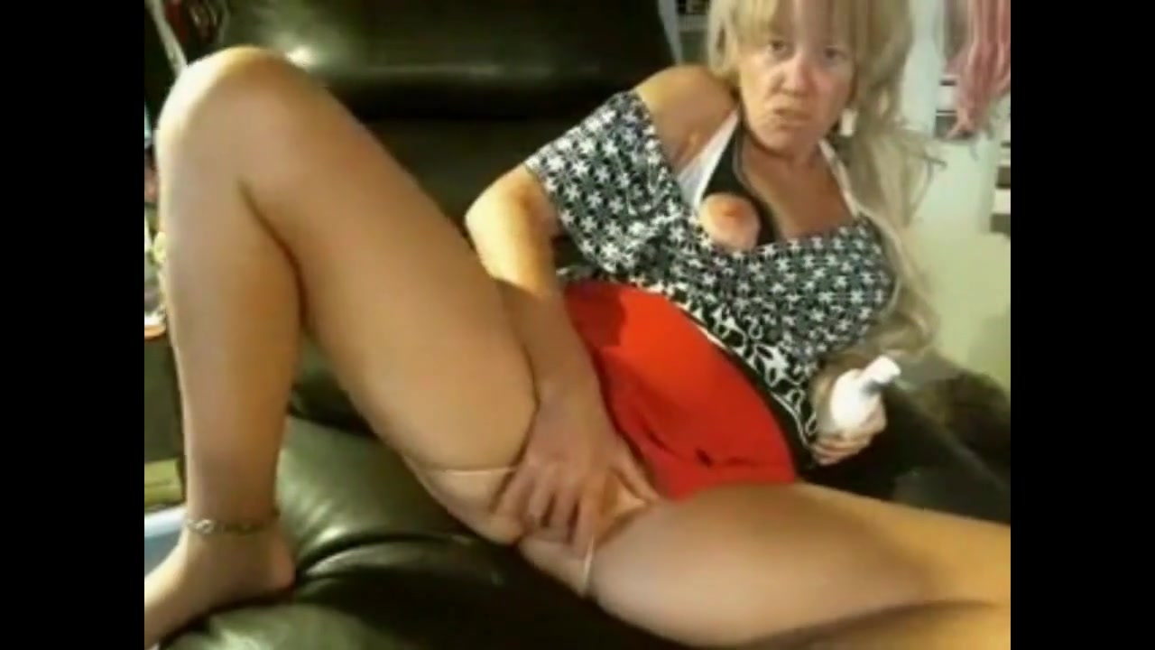 Blond Granny on the Webcam Sexy lace bras