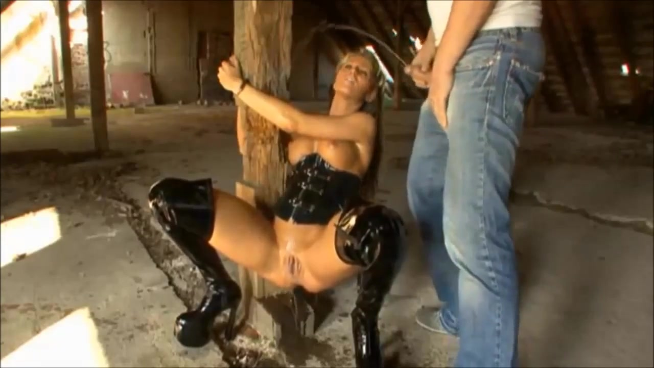 German Blonde Slut tied up for Pissing Action Short haired girl nude self shot
