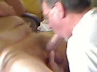 Silver daddy blowing big cock Anjelica Angel