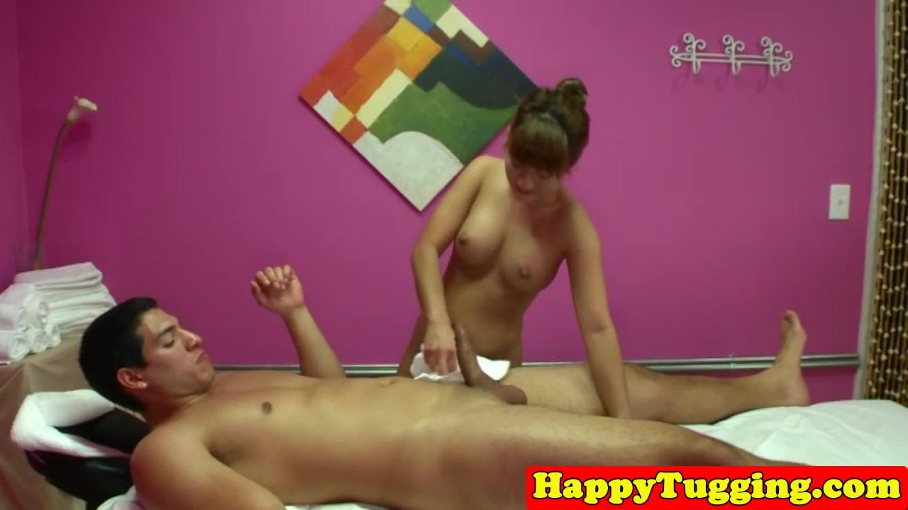 Asian masseuse wanking massage client