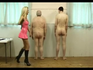 Sexy Mistress in Pink Latex Works Over Her 2 Slaves Mature black naked men