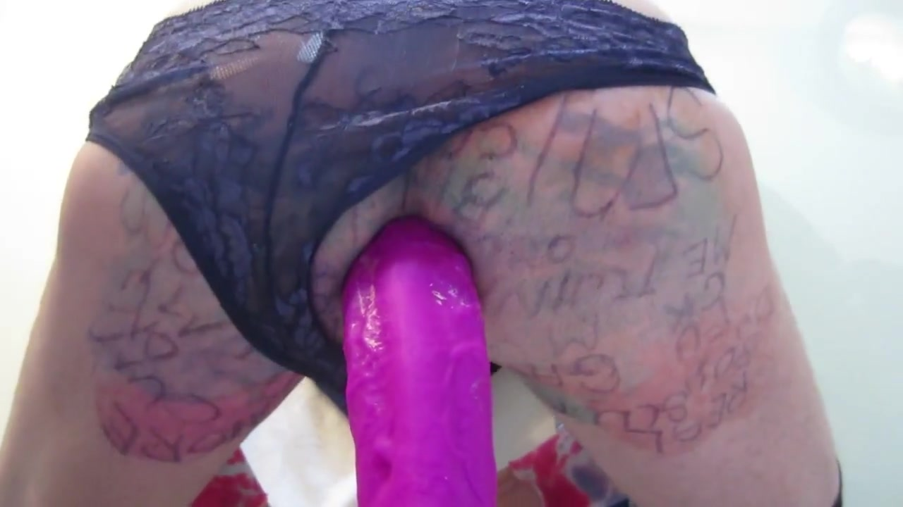 RIDING MY HUGE PURPLE DILDO Floozy truly adores getting fucked hard at home