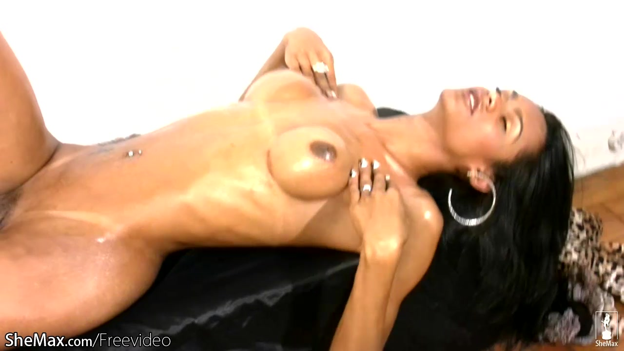 Busty t-girl strips off lingerie and strokes her black mamba High heels milf fuck