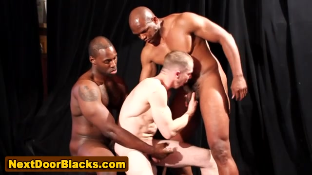 Interracial gay threesome suck big blonde fuck tit