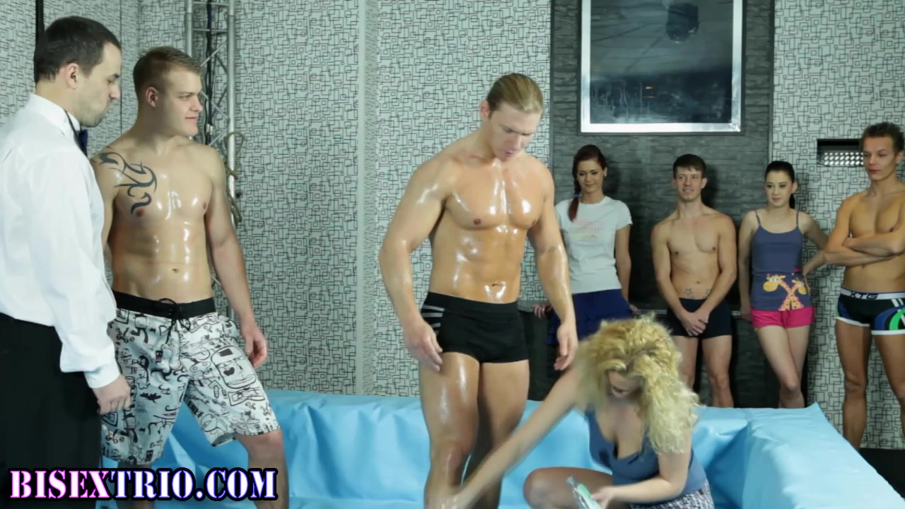 Oiled up bi wrestling stud sucks Mallika sheravat boob