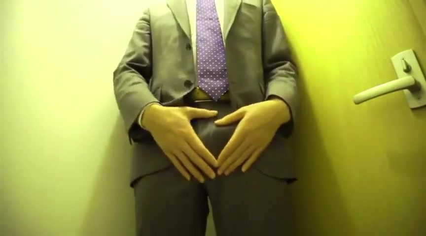Standing jerk off in suit to stay hard during sex