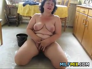 Fat Housewife Cheating The House Naked
