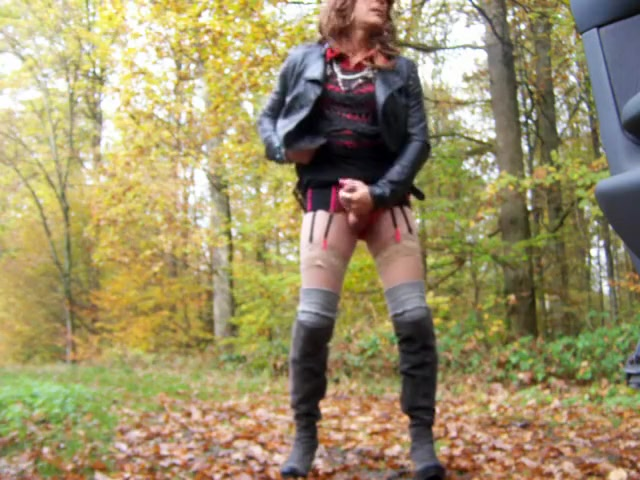 Crazy homemade shemale scene with Stockings, Outdoor scenes FFFM like no other