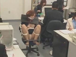 Japanese office abused Redhead asshole hairy pussy
