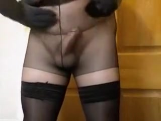 Fabulous amateur shemale movie with Stockings, Solo scenes