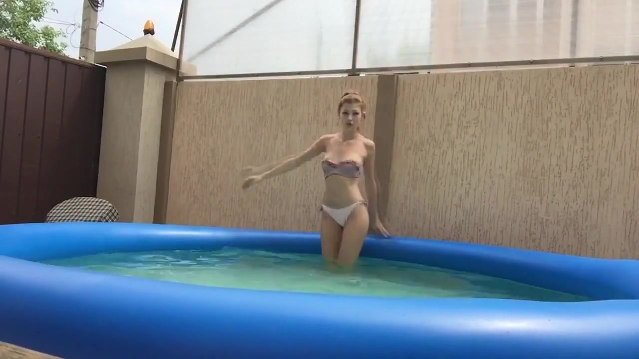 Hot college girl teases in pool Shoe porn sexy high heels