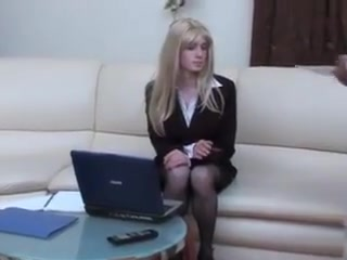 Hot office CD persuasion Milf loves her big dildo
