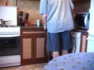 non-professional pair fuck from kitchen to living room