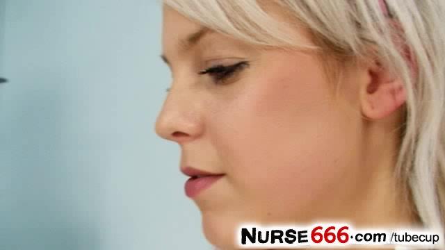 Blonde teen Kristina Rud wears nurse uniform