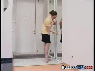 Russian In Fishnet Stockings sexy white fat ass