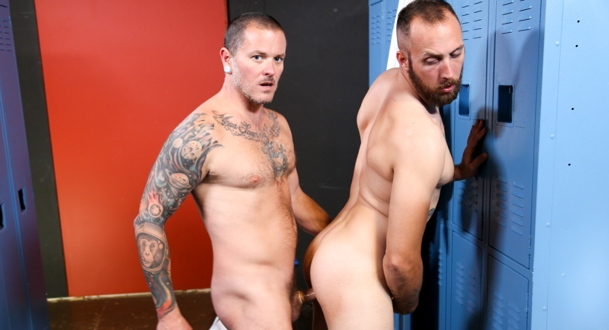 Dustin Steele & Max Cameron in Working Out Makes Me Horny Video - MenOver41 Pussy in all young white fuck