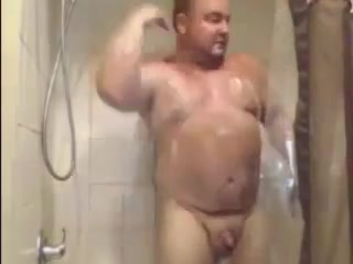 Handsome bear taking a shower. Blacks homemade fucking free video