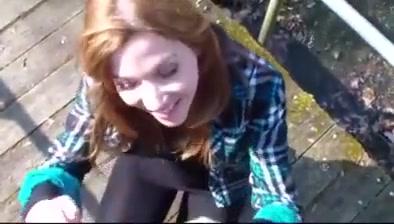 Outdoor girlfriend bj
