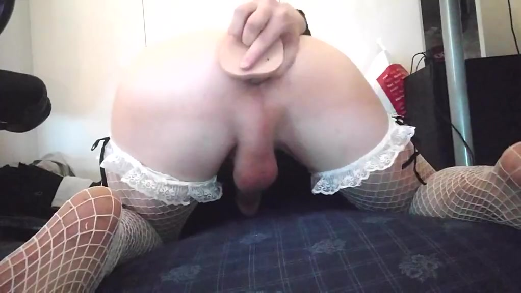 Rough dildo play shemale with huge cums