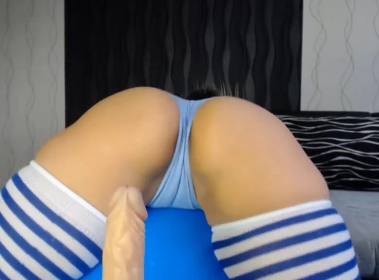 Cute girl with big ass in gym ball Two Clits One Dick
