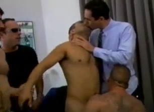 Muscular gay fuckers set a wild threesome Sex in party hardcore