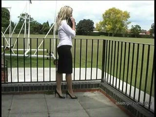 Posh blond has fetish for shiny stockings and high heels