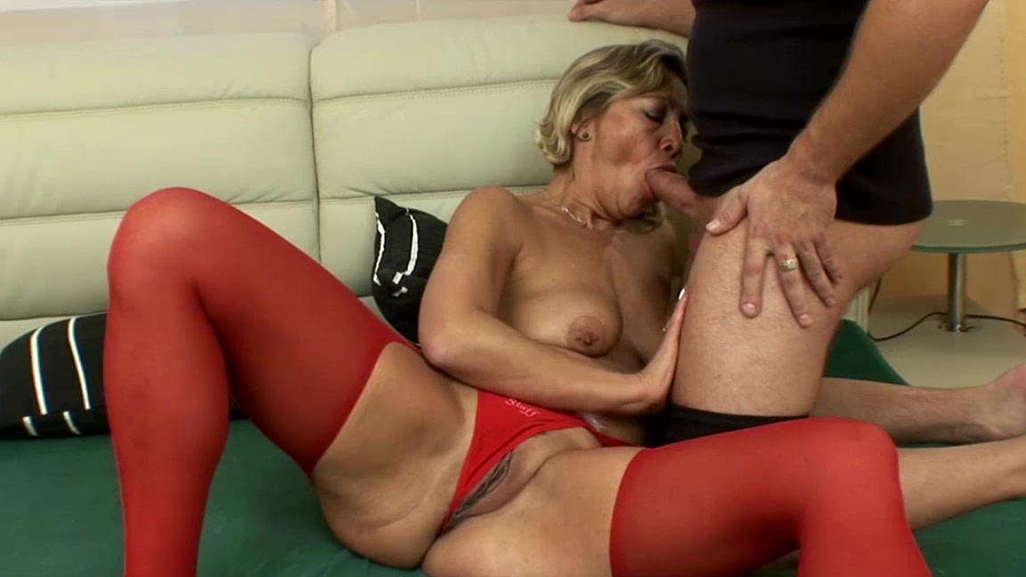 Mature Blonde In Red Stockings