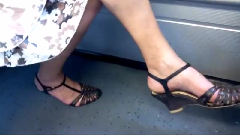 Candid granny leg and heel show Informs teen girls about