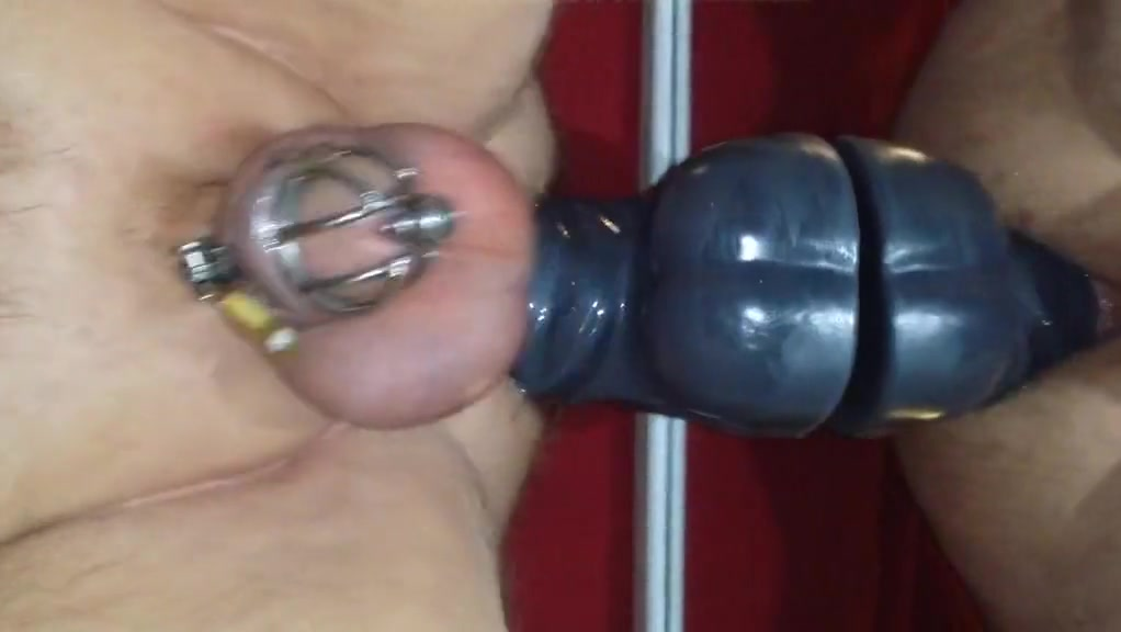 Prostate milking with huge dildo in chastity Icewear vezzo the clarity