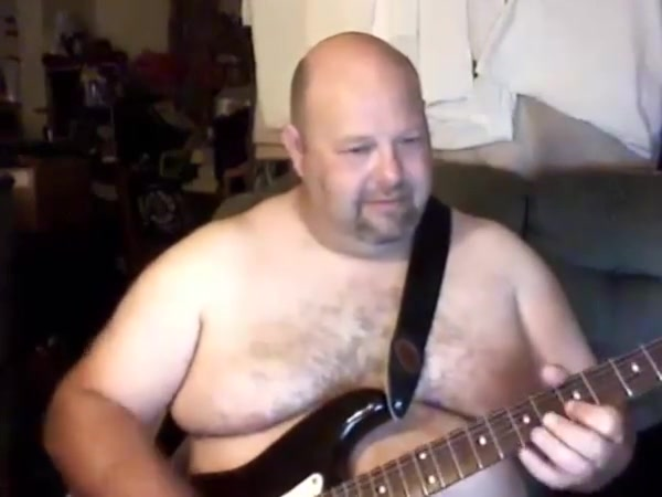 Guitar bear man Mature wife alone