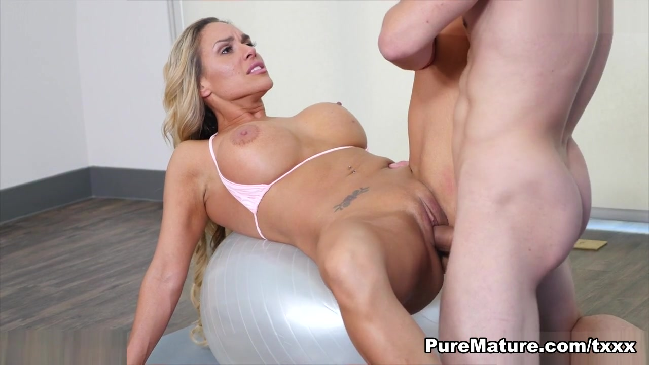 Tegan James in Family Workout - PureMature Huge boobs blonde bathing in milk and sucking