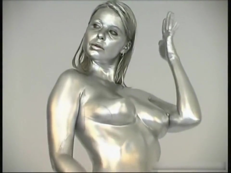 Parformance Nude Body Painting Gold Naked wet t shirt contest turns into orgy