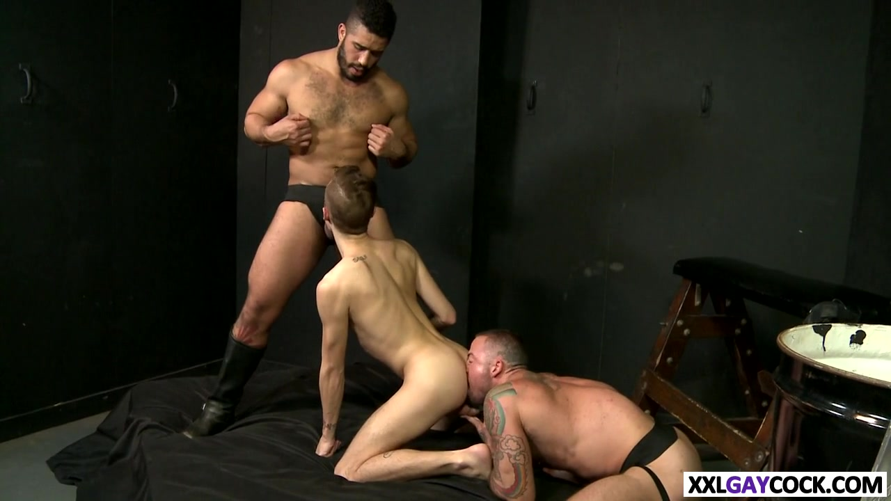 Three hot studs banging in the club First time uncut