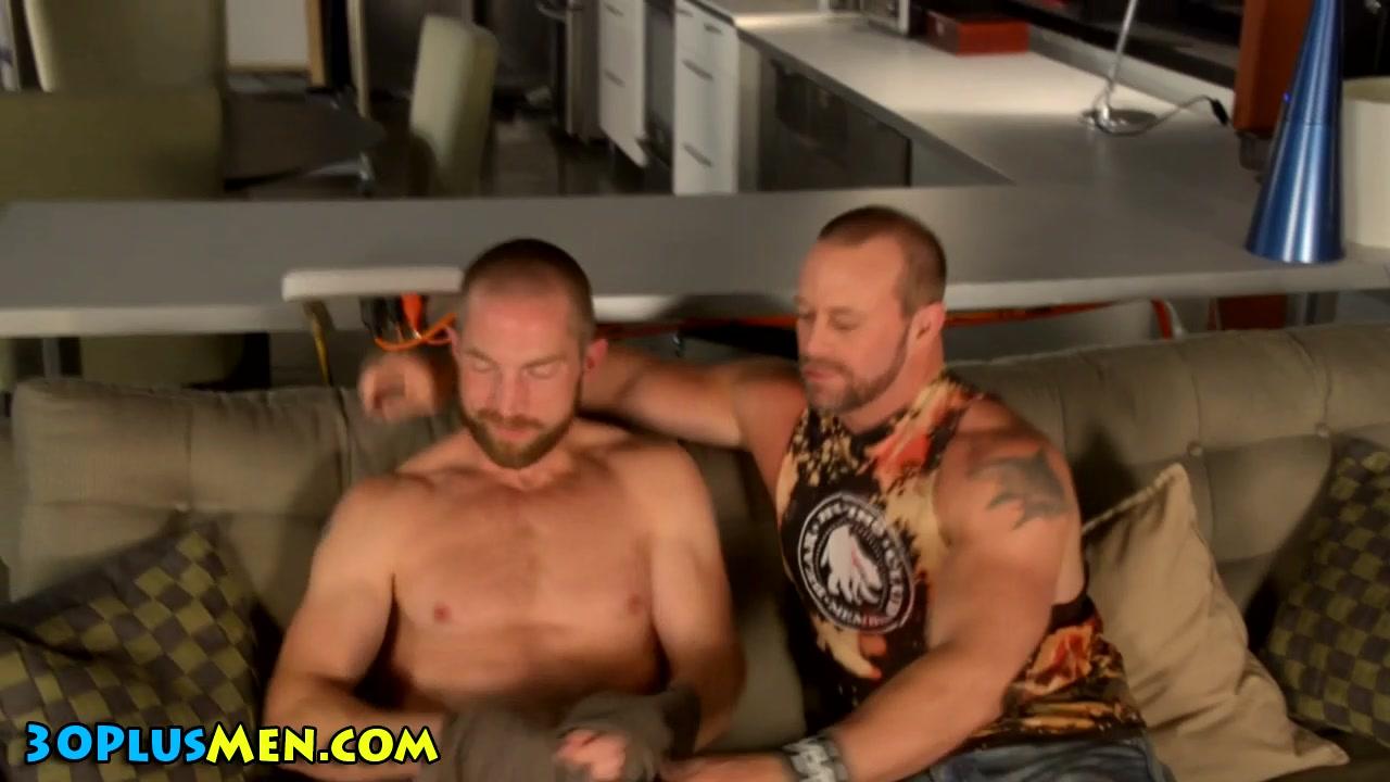 Bear gobbles long schlong Threesome two men one women positions