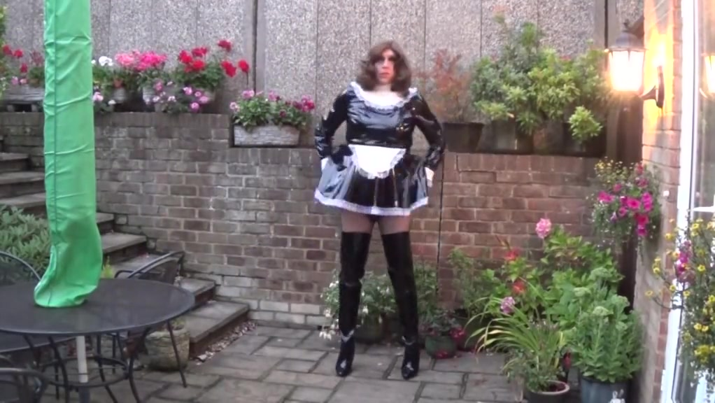 Sissy Maid Alison trying to cum with a cock cage on hot sex boy gay