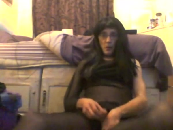 Pantyhose wank with wig and make up Wife attendant friends slut load